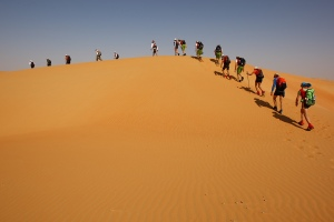 Trekking through the desert in last year's race. Photo courtesy Dan Campbell.