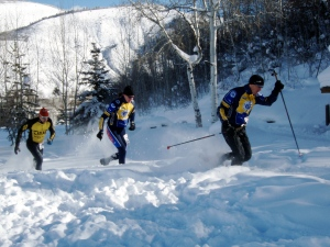 Mike Kloser (with poles) and I starting the snowshoe race.