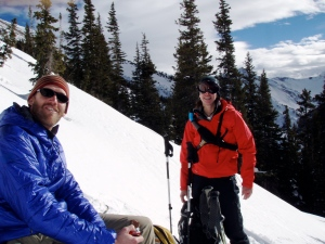 Mike and I enjoying some sun at the summit.