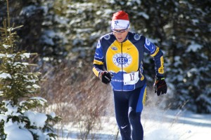 Mike Kloser finishing the snowshoe leg.