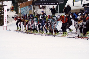 Clicking into our skis after about a 50 yard run. Green boot domination!