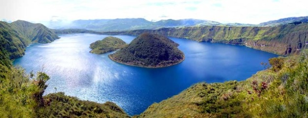 This is where we'll be kayaking, Lake Cuicocha, nestled in the crater of the Cotacachi volcano.